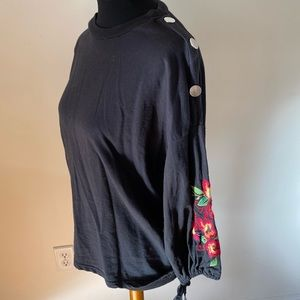 Zara Trafaluc Embroidered Bubble Sleeve Top